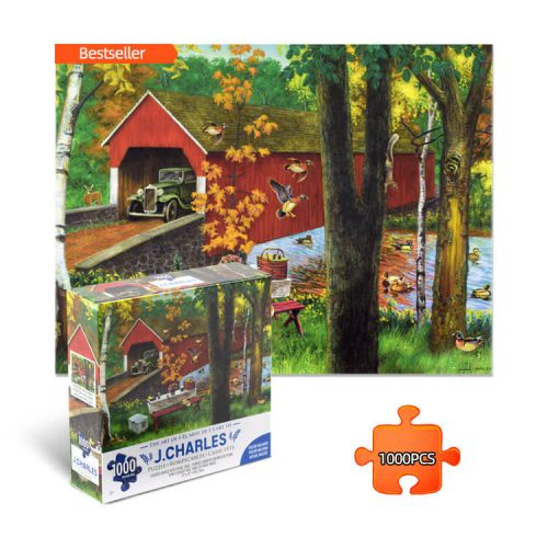 Covered bridge with picnic table Jigsaw Puzzle